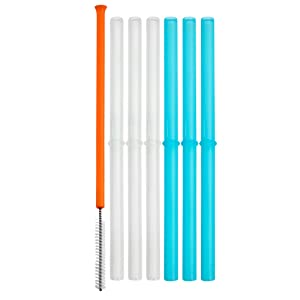 Boon Snug Silicone Straws with Cleaning Brush (Pack of 6)
