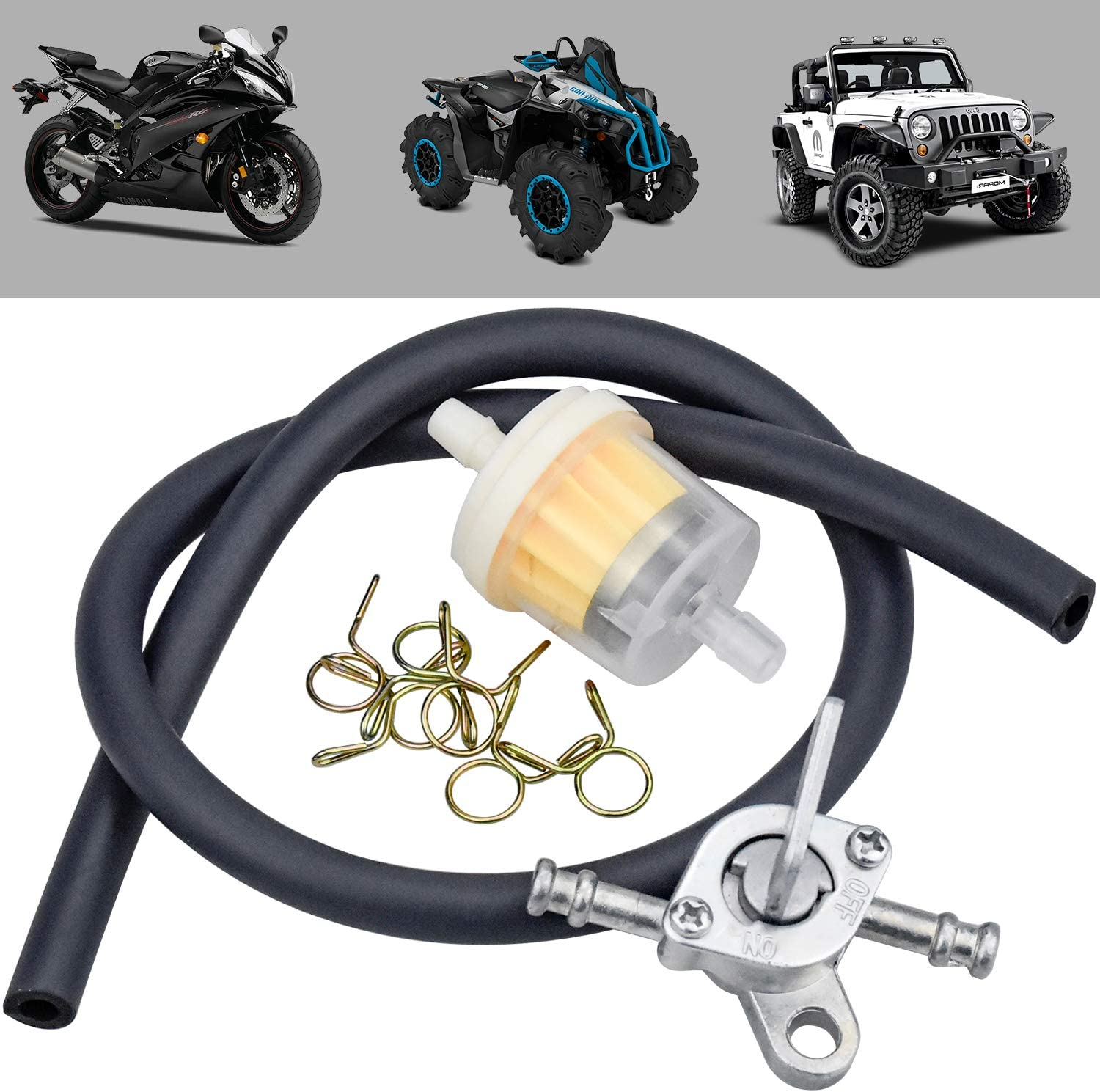 Fuel Tap Motorcycle petrol Filter Universal Motorcycle Inline Fuel Filter Kit with Black Petrol Oil Pipe Tubing Clips