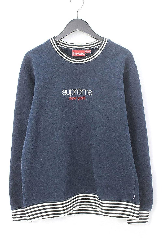 (シュプリーム) SUPREME 【14AW】【Classic Logo Striped Rib Crewneck】クラシックロゴクルーネックスウェット(M/ネイビー) 中古 B07D6MG3Z3