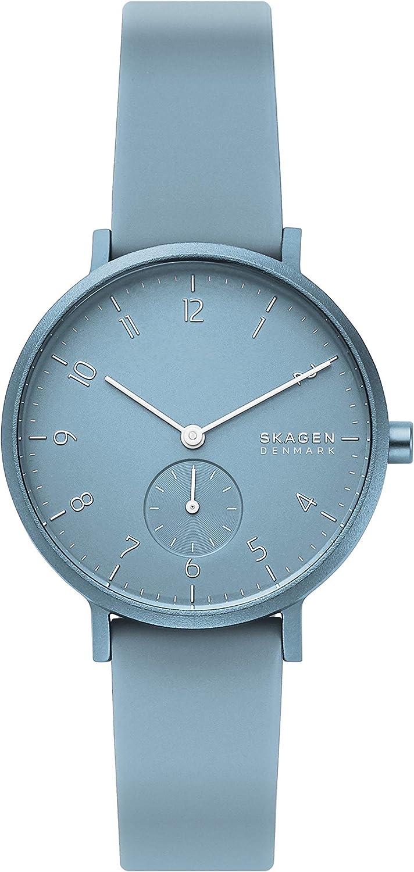 Skagen Aaren Reloj minimalista de cuarzo de silicona de color de 36 mm