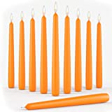 Set of 10 Orange Dinner Taper Candles 10 Inch Unscented Tall Dripless Candlesticks Bulk for Wedding Restaurant Home Decoratio