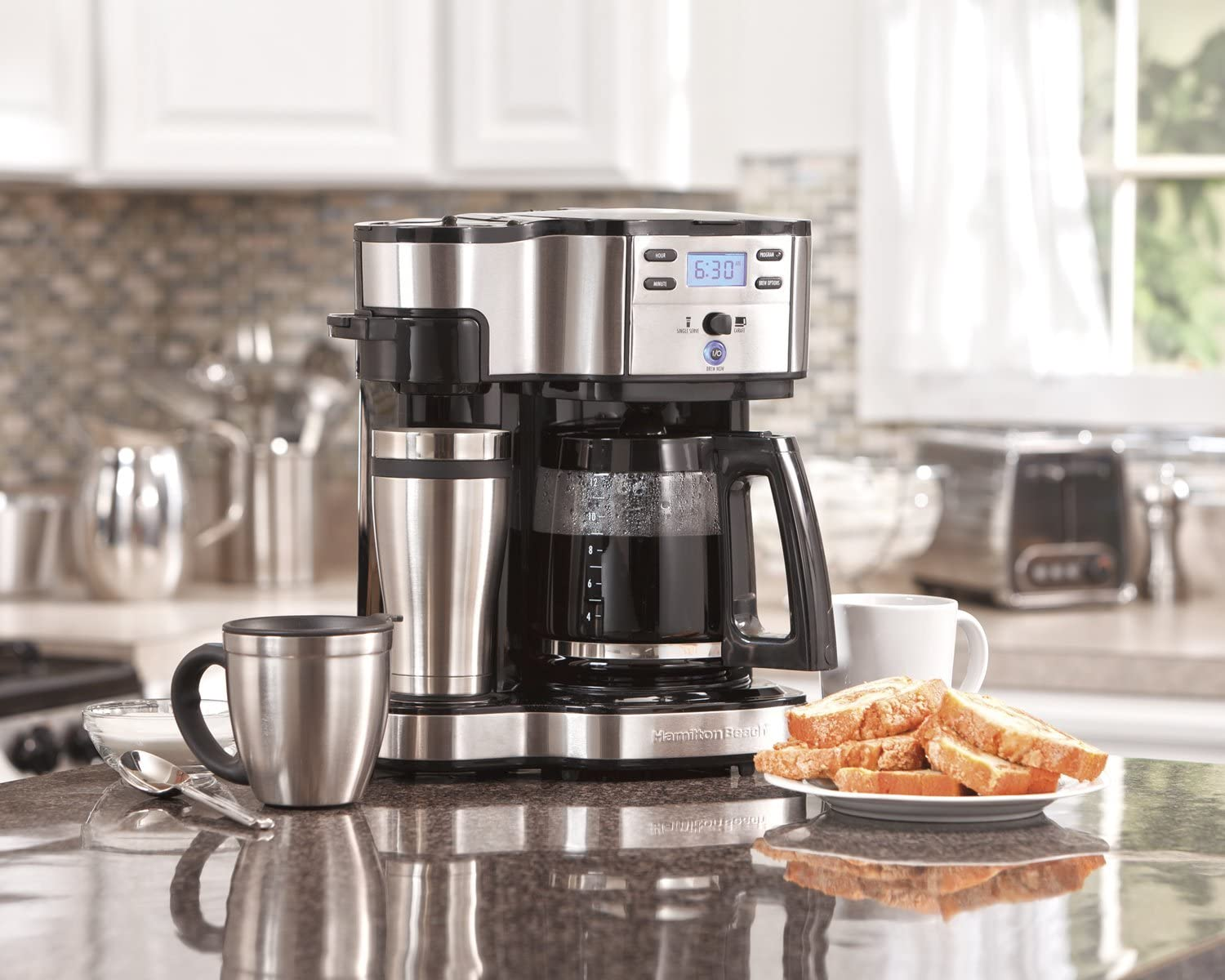 Hamilton Beach 49980A Single Serve Coffee Maker and Coffee Pot Maker, Programmable, Black Stainless Steel Renewed