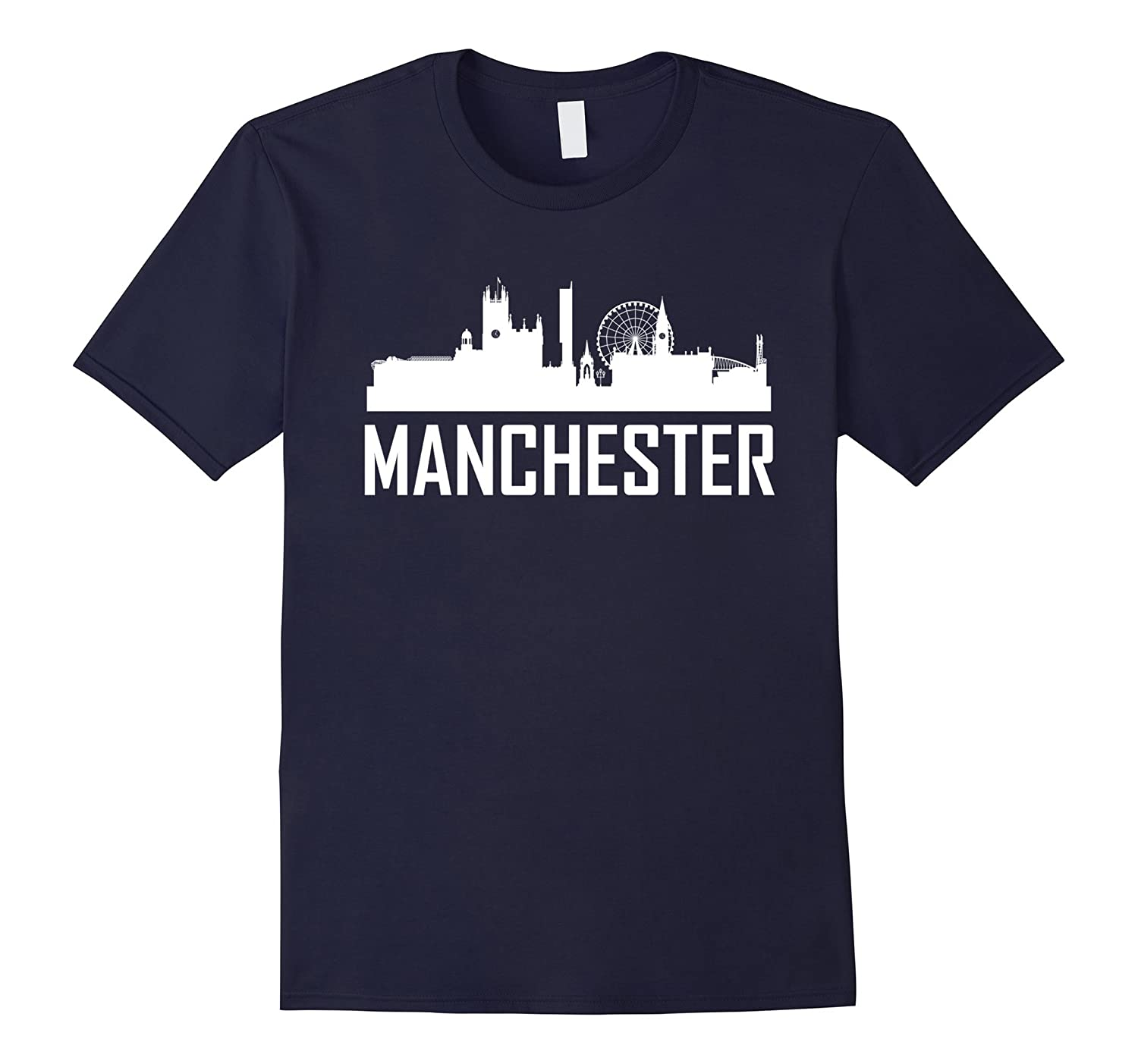 Manchester England Skyline Silhouette Cityscape T-Shirt-4LVS