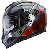 "IV2 Falcon 967 - ""THE MECH"" Mercenary Mech High Performance Dual Visor, Full Face Street Motorcycle Helmet with Retractable Sun Shield - Original Design Series [DOT] - Large"