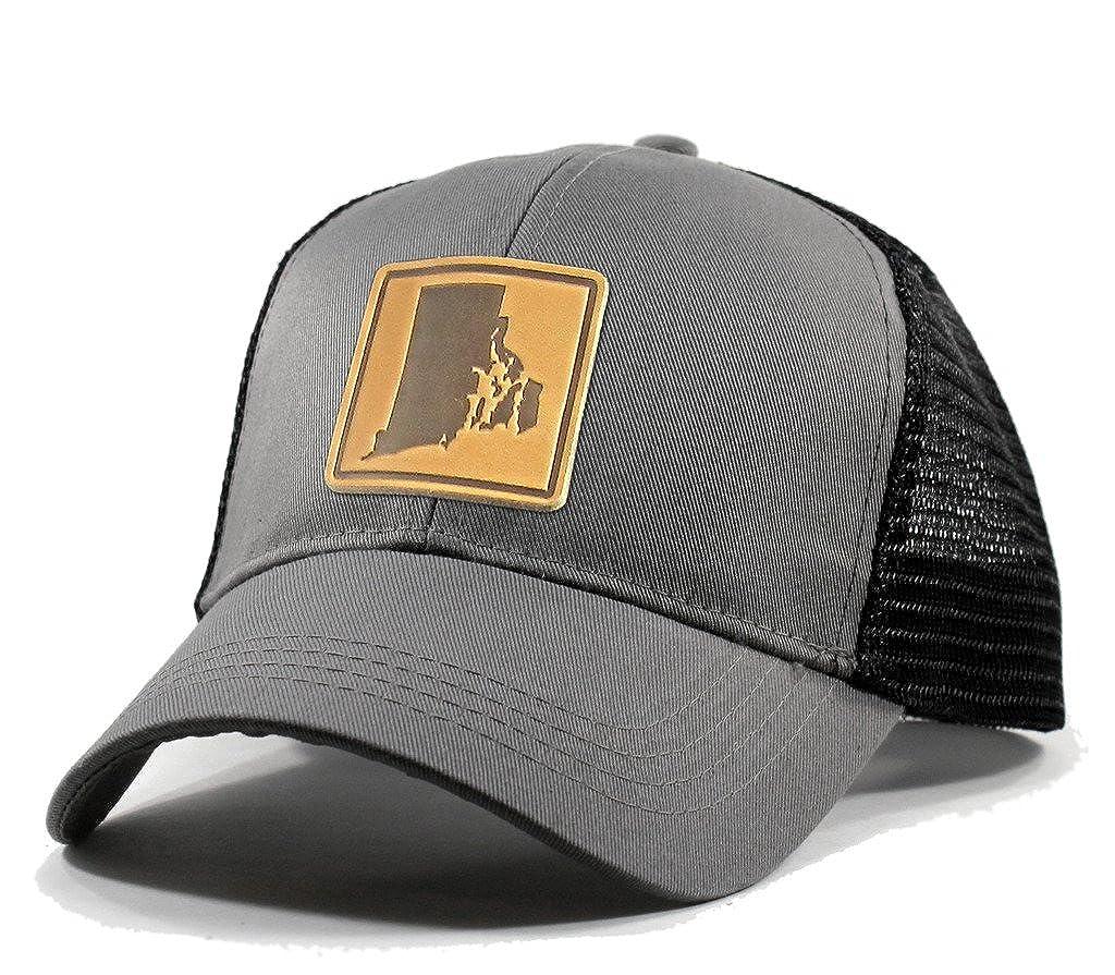 Homeland Tees Mens Rhode Island Leather Patch Trucker Hat