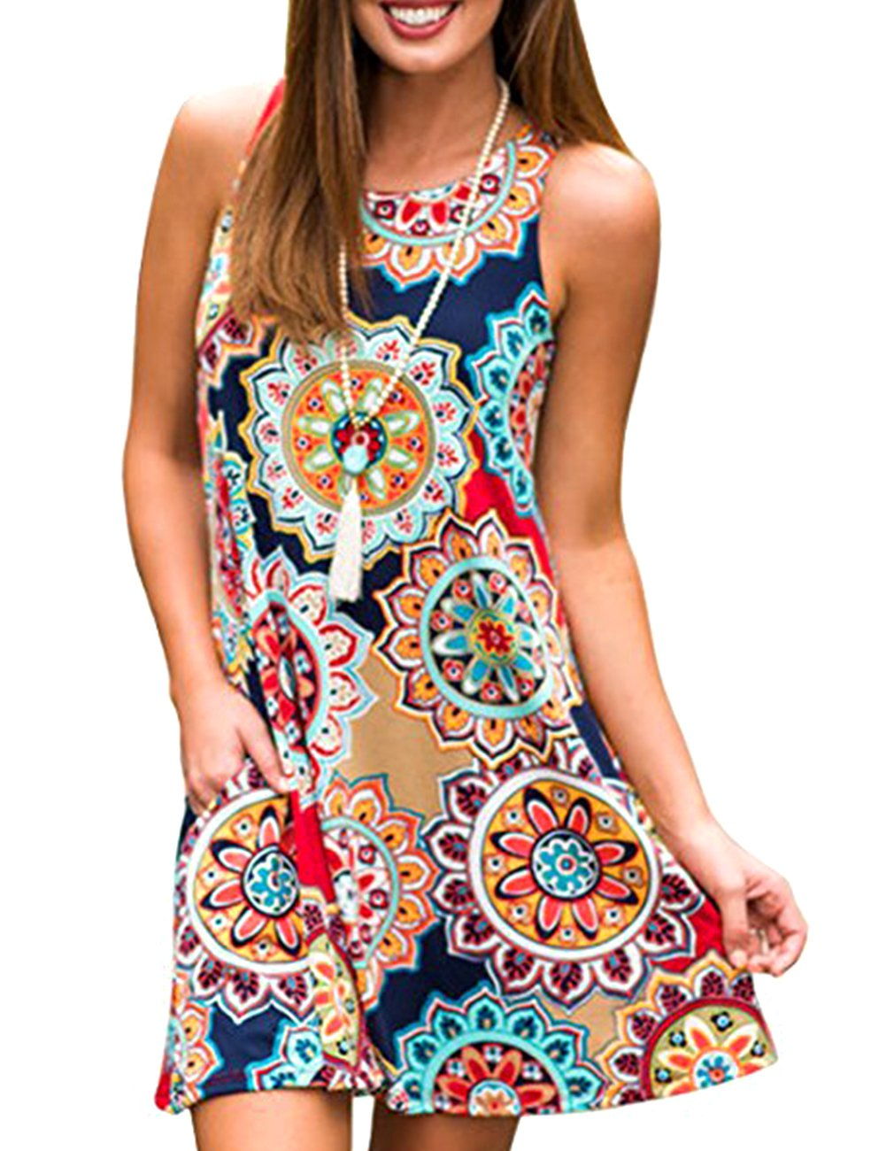 Women's Summer Sleeveless Damask Tunic Top Casual Floral Print T-Shirt Midi Dress with Pocket for Legging (Large, Geometric)
