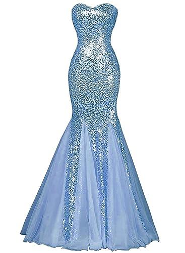 Azbro Women's Glamour Sweetheart Sequin Mermaid Long Prom Dress
