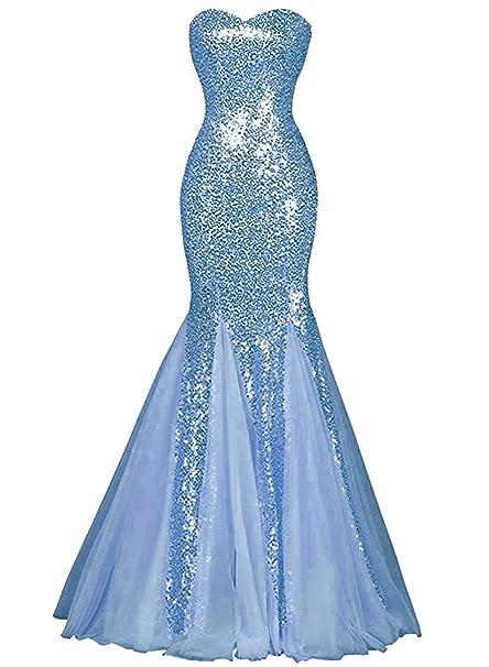 ASVOGUE Mujer Vestido Largo de Fiesta Sirena Adorno de Lentejuelas,Azul Claro Xxxl