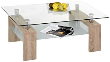 Alfa Tische M2232 Couchtisch Dolce 110 X 70 Cm Gestell Sonoma Eiche Dekor Mit Glasplatte Und Glasboden