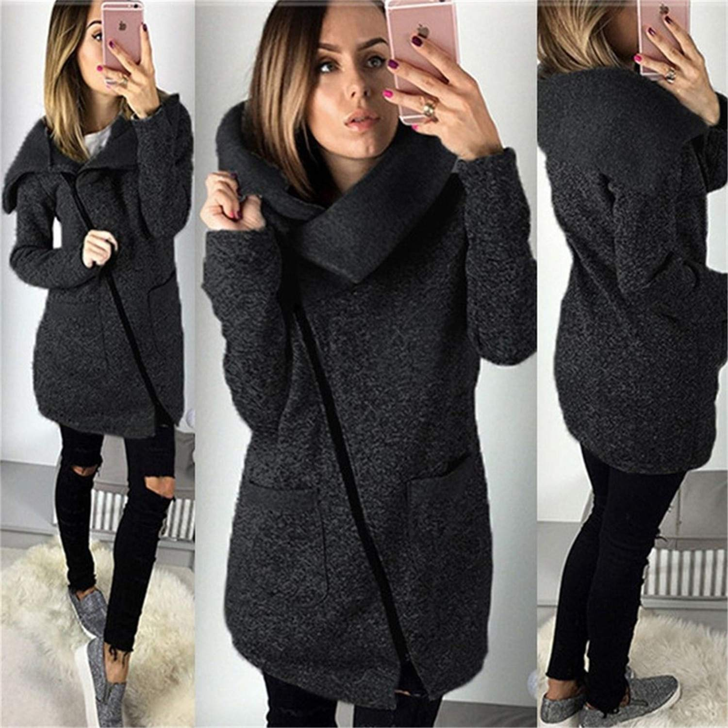 Amazon.com: Hangwucha Women Spring Winter Fleece Sweatshirt Hoodie Long Zipper Hoodies Jacket Coat Outwear Plus Size 5XL Sudaderas para Mujer Black XXL: ...