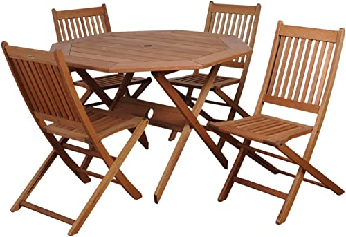 Amazonia Chaise 5-Piece Patio Octagon Dining Table Set | Eucalyptus Wood | Ideal