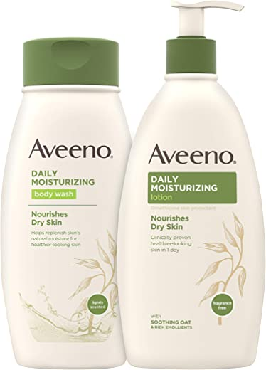 Aveeno The Favorites Collection Skincare Set with Daily Moisturizing Body Wash, Positively Radiant Brightening Daily Scrub, and Daily Moisturizing…
