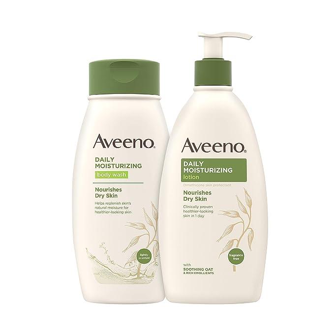 Aveeno Daily Moisturizing Body Lotion with Soothing Oat, 18 fl. oz & Daily Moisturizing Body Wash for Dry Skin with Soothing Oat, 18 fl. oz   Amazon