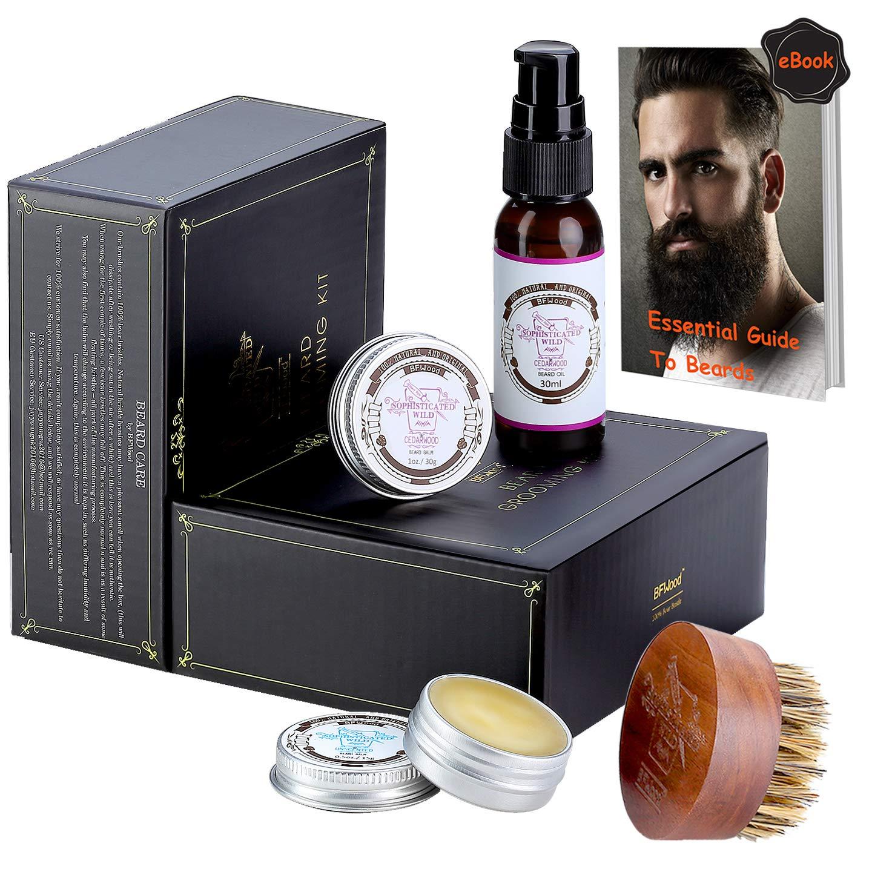 BFWood Kit Cuidado de Barba para Hombres – Cepillo Barba, Aceite Barba Aroma Salvaje 30ml, Bálsamo Aseo Barba 15gx2, Nutrición, Suavidad, Hidratación, Estilo, Modelado