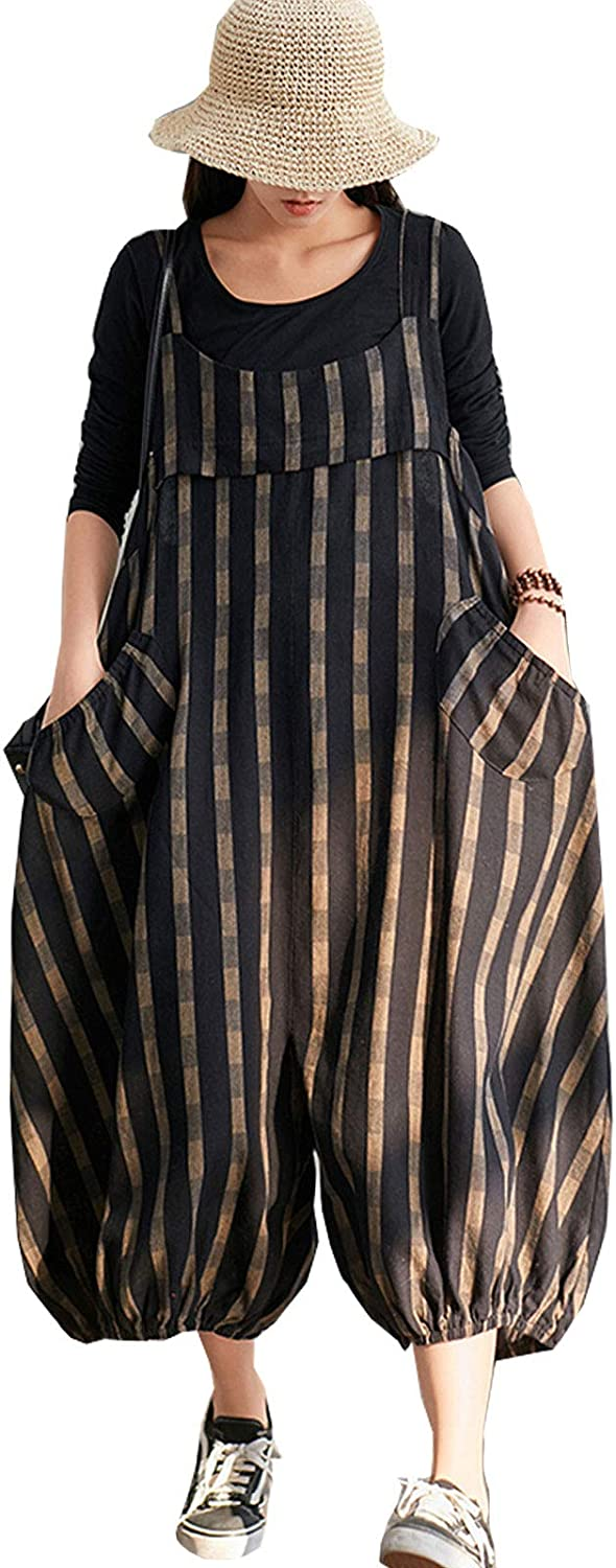 Zimaes-Women Straight Linen Pockets Striped Weekend Jumpsuits Bib Trousers