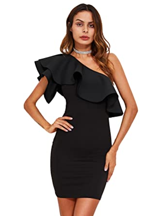 2cd6f90824c Floerns Women's Ruffle One Shoulder Party Bodycon Dress at Amazon ...