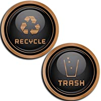 Recycle and Trash Logo Symbol - Elegant Golden Look for Trash Cans, Containers, and Walls - Laminated Vinyl Decal (Medium - 8.25x8.25, Copper)