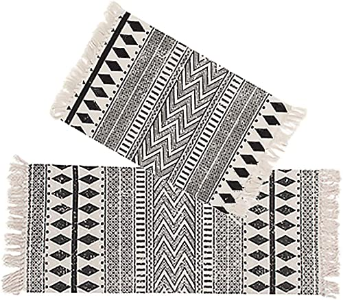Kingrol 2 Pack Vintage Area Rugs, Cotton Printed Tassels Throw Rugs for Kitchen Living Room Bedroom Bathroom Laundry Room, 2 x 3 Feet, 2 x 4.2 Feet