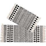 Kingrol 2 Pack Vintage Area Rugs, Cotton Printed Tassels Throw Rugs for Kitchen Living Room Bedroom Bathroom Laundry…