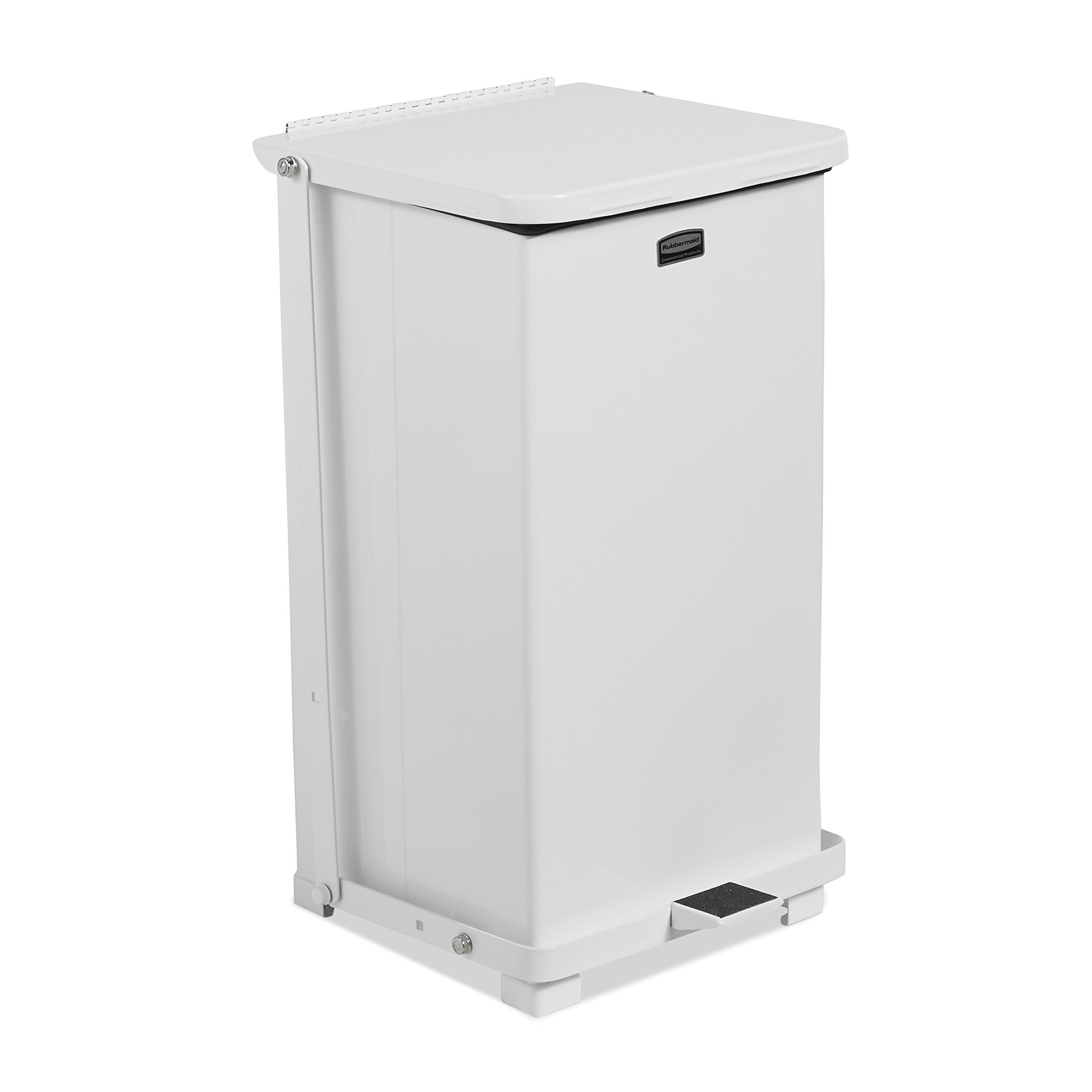 Rubbermaid Commercial Silent Defenders Quiet Step Trash Can with Rigid Liner, 12-Gallon, White