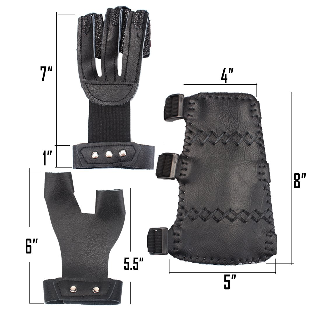 AMYIPO 3 Finger Protective Glove & 3 Straps Arm Guard & Finger Tab (Black (3-Set)) by AMYIPO