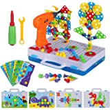 224 Piece Trendy Bits Drill Puzzle STEM Engineering Toys, Electric Drill Puzzle Toy, DIY Construction Building Peg Board…