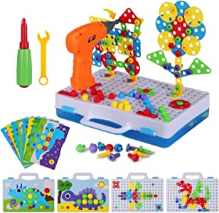 224 Piece Trendy Bits Drill Puzzle STEM Engineering Toys, Electric Drill Puzzle Toy, DIY Construction Building Peg Board for 4-8 Year Old Kids, Creative Design Puzle for Preschool Boys and Girls Gift