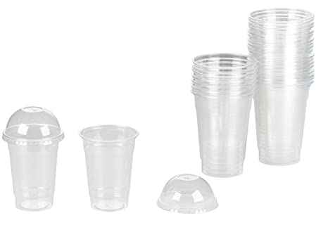 Amazoncom Clear Plastic Cups With Dome Lids 75 Pack 16 Oz