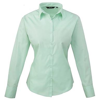 Premier Womens/Ladies Poplin Long Sleeve Blouse / Plain Work Shirt ...