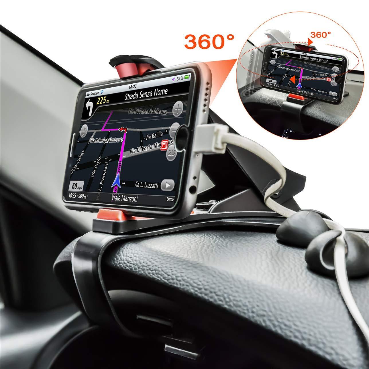 ZOORE 360° Support Téléphone Voiture GPS HUD, Fixation Automobile sur Tableau de Bord Support pour Compatible iPhone X/8/8P/7/7P/6s/6/6P, Huawei, Samsung, HTC - Noir