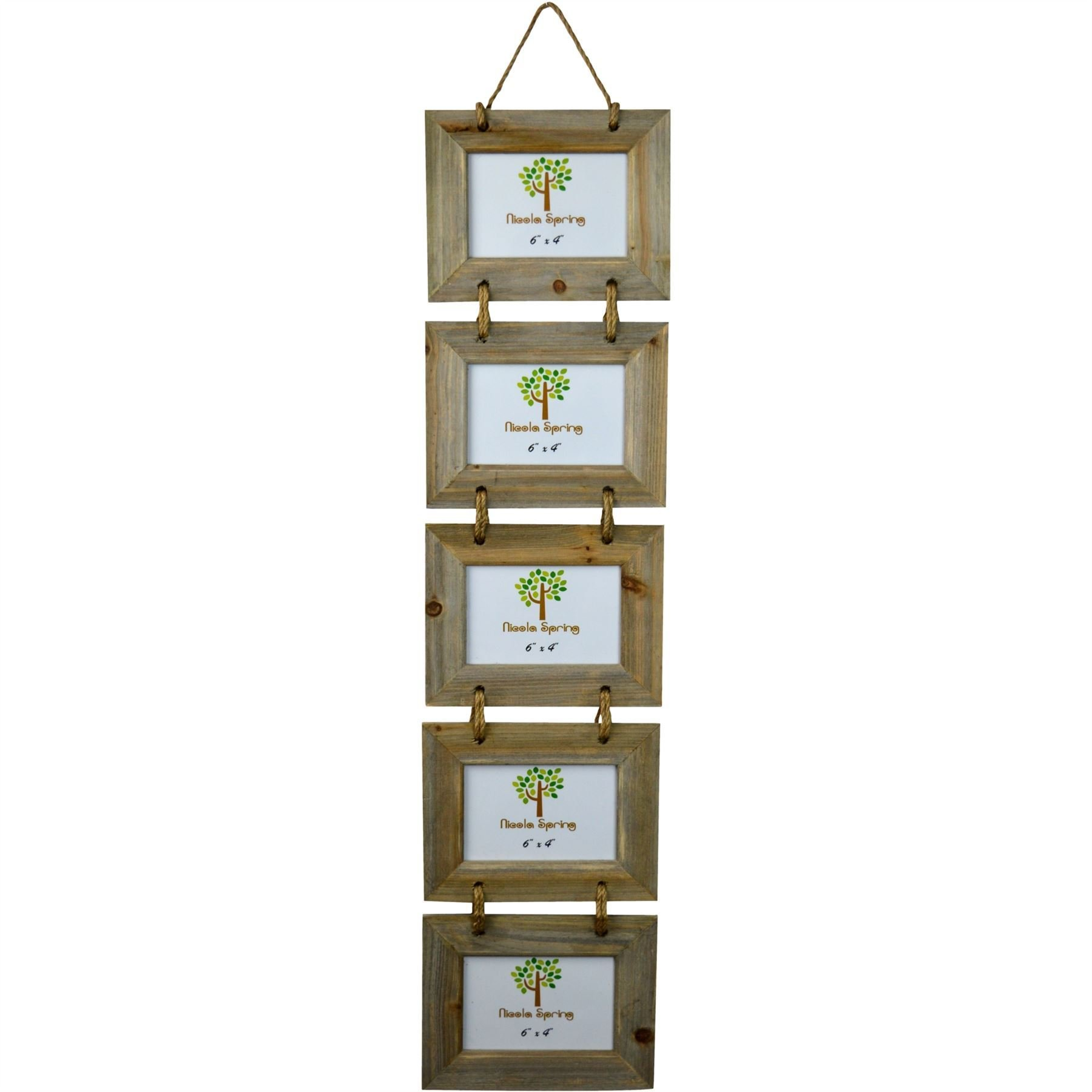 Five Hanging Rustic Wood Photo Frames by Nicola Spring