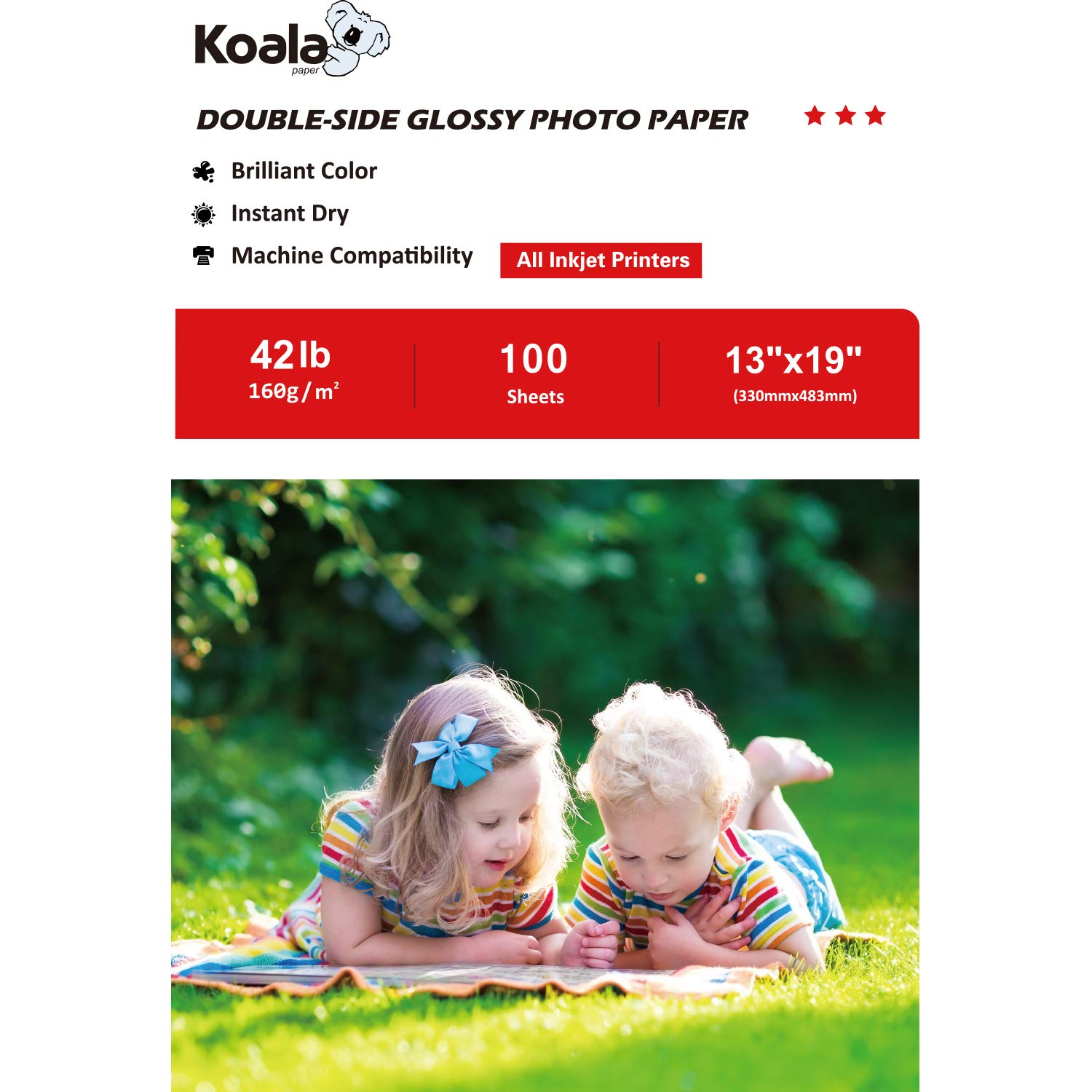 Koala Double Side Glossy Photo Paper 13x19 Inches 160gsm 100 Sheets Compatible with All Inkjet Printer