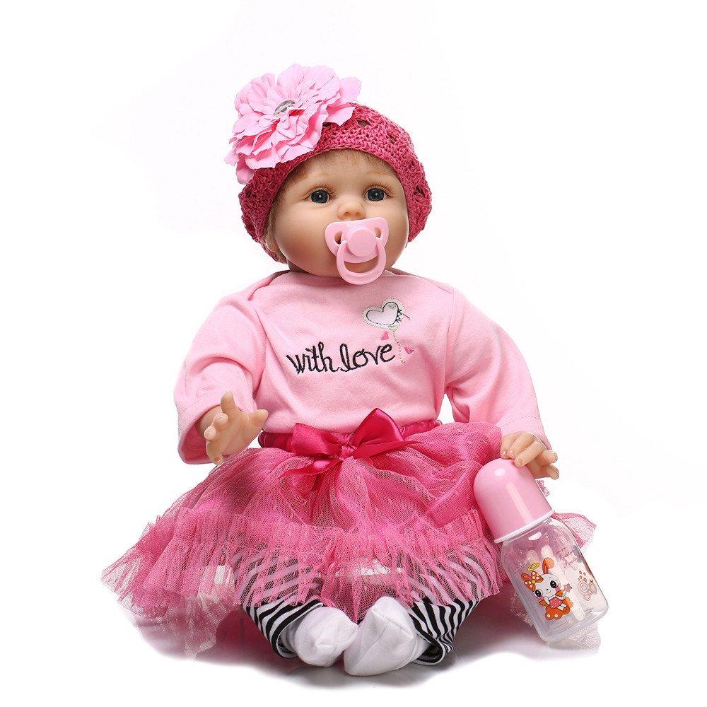 Euone 教育人形 生きているようなリボーンベビードール 55cm 新生児人形 女の子 プレイメイト 誕生日ギフト   B07KKG3WBL