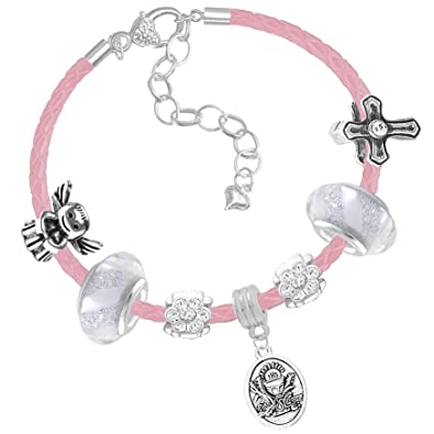 c8ed3b1c8 First Holy Communion Card and Pink Leather Charm Bracelet Gift Set for  Girls (1. Iced Silver): Amazon.co.uk: Jewellery