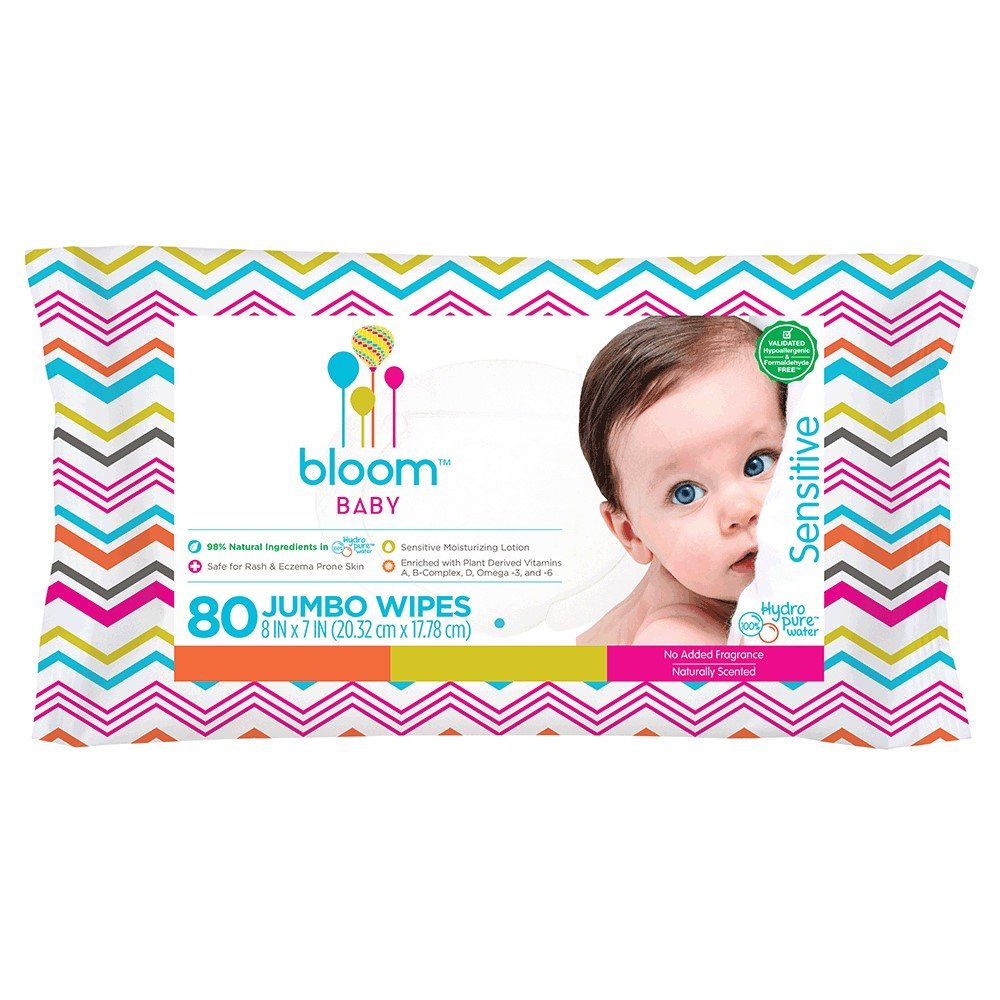 bloom BABY Sensitive Skin Unscented Hypoallergenic Baby Wipes, 80 Count BLP2F BLOOM04