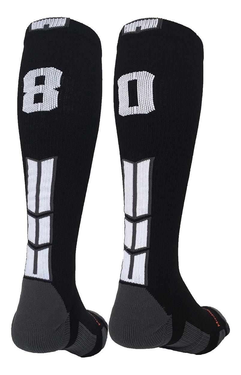 MadSportsStuff Player Id Black/White Over The Calf Number Socks (#80, Medium)