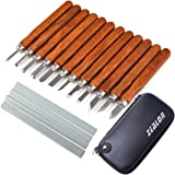 Zealor 17 Pieces Wood Carving Tools Kit Carbon Steel Chisel Set with Whetstones and Storage Case