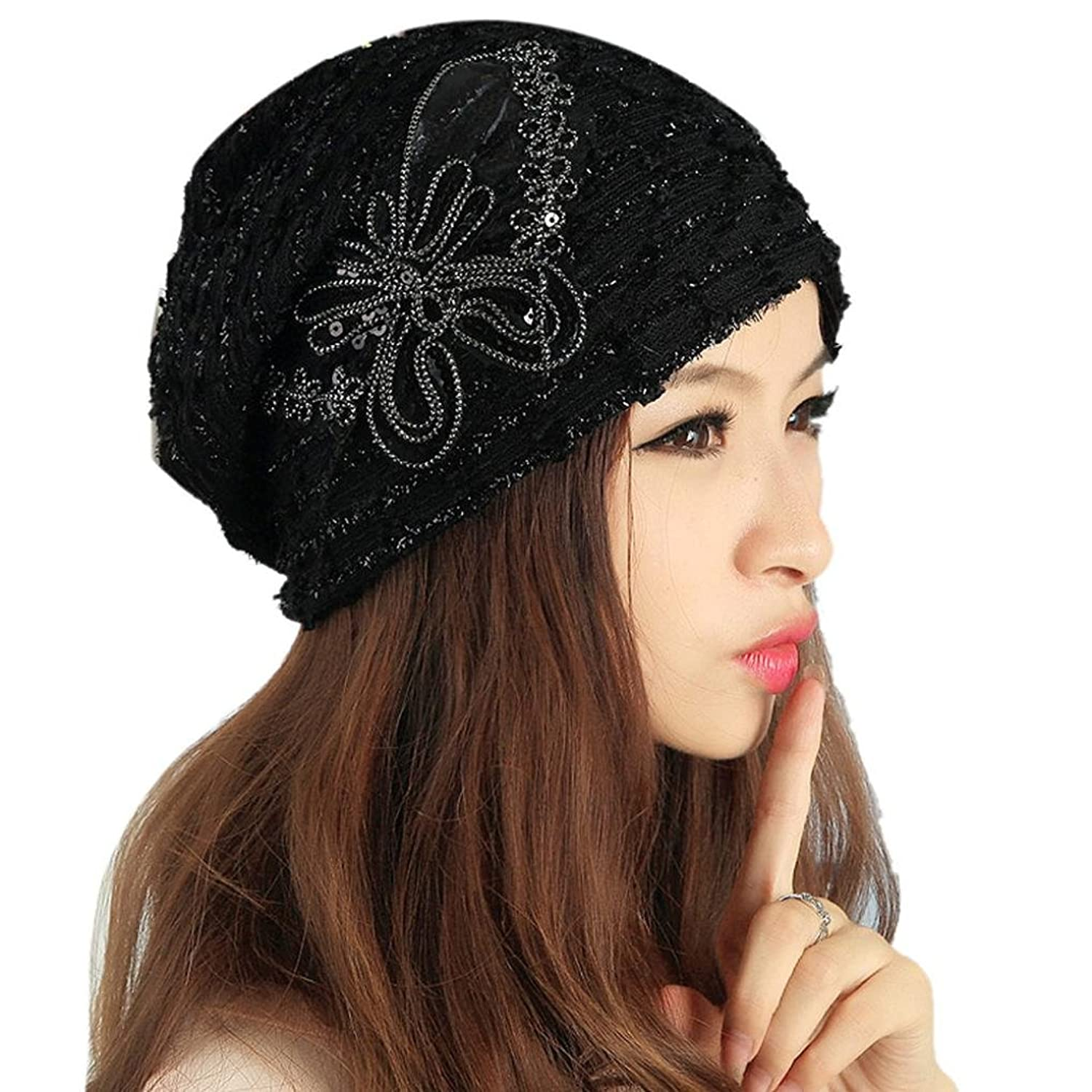 Haoricu Women Hat, Winter Women's Fashion Lace Butterfly Sequins Snapback Ladies Turban Cap