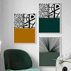 Abstract Green Yellow Mesh Poster Print Geometry Canvas Painting Wall Art Minimalist Pictures for Living Room Decor (15x25cm) x3 with Frame