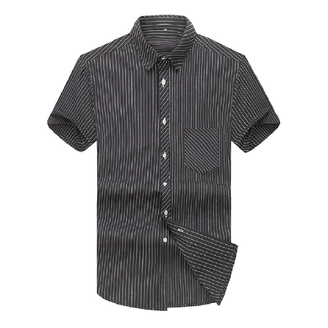 SportsX Mens Half Sleeve Striped Lapel Collar Plus-Size Fitted Work Shirt