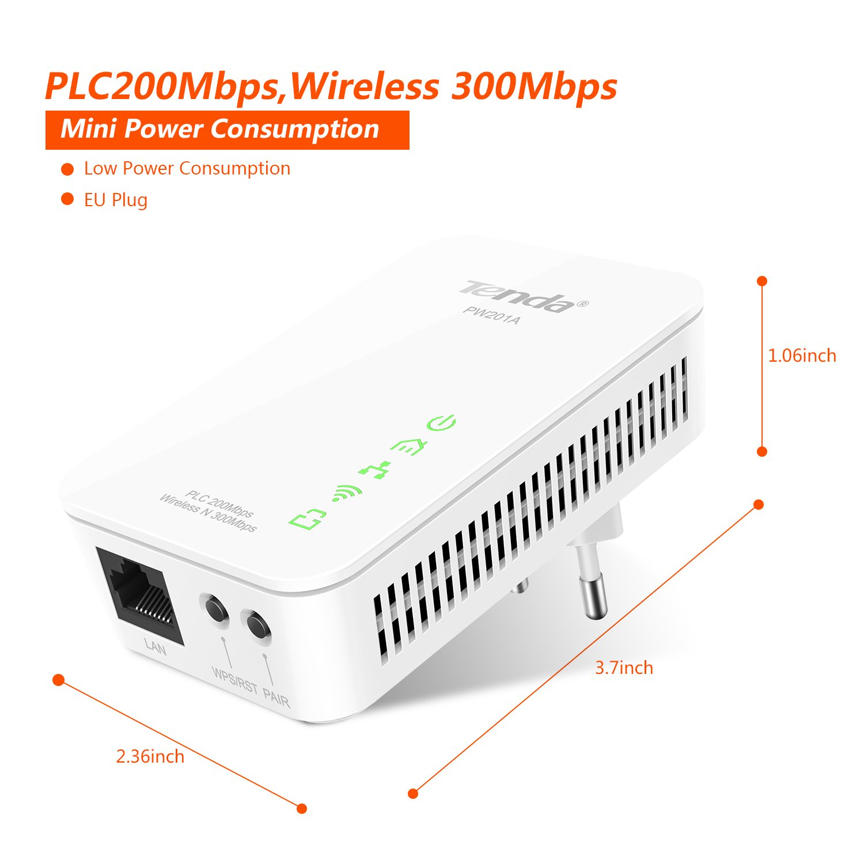 Tenda PW201A N300 Extensor de Red por Linea elétrica WiFi (AV200, 300Mbps WiFi, PLC LAN,HomePlugAV): Amazon.es: Informática