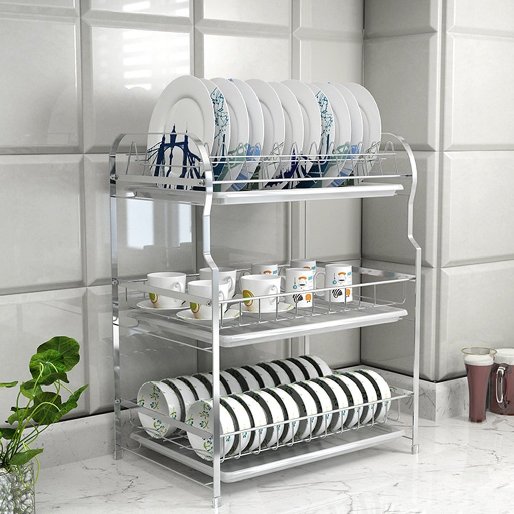 ZCJB Kitchen shelf 3-Tier Bowl Shelf Drain Shelf 304 Stainless Steel Kitchen Shelf Dish Racks Bowl Rack Drain 3 Layer ( Color : A )