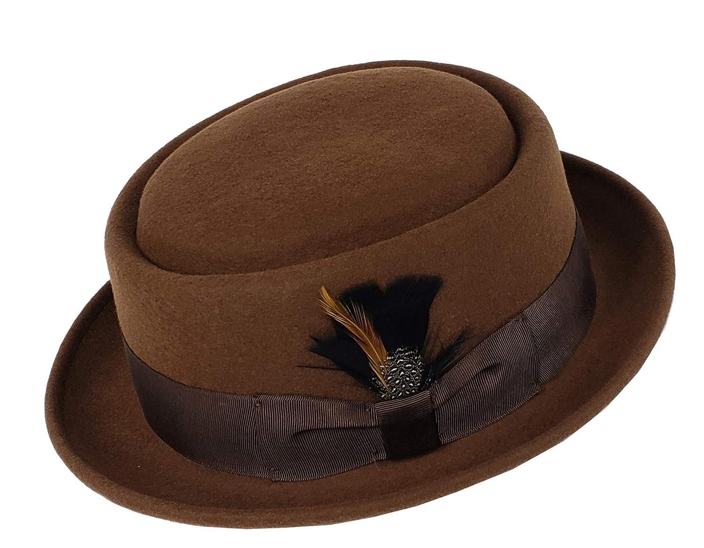 Men's Crush-able Wool Felt Porkpie Pork Pie Fedora Hats with Feather DTHE09