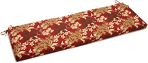 "Blazing Needles Patterned Outdoor Spun Polyester Bench Cushion, 57"" Wide, Montfleuri Sangria"