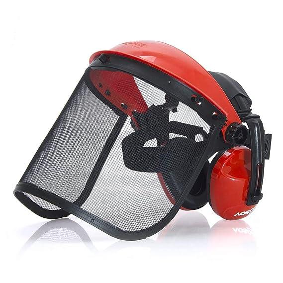 AOSOME Careta/ Mascara Protectora - Combinación de Visera de Malla y Orejeras - Casco Forestal de Seguridad para Desbrozadora/ Motosierra