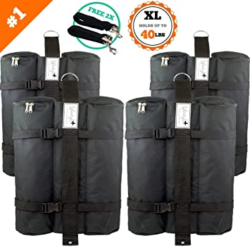 SET of 4 LARGE Canopy Weight Bags - FREE Hurricane Straps - Heavy Duty (Hold & Amazon.com : SET of 4 LARGE Canopy Weight Bags - FREE Hurricane ...