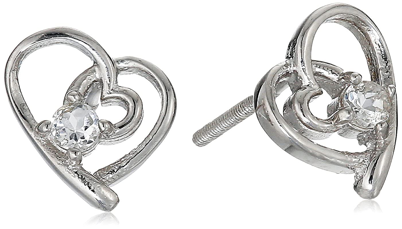 Girls Sterling Silver and Gemstone Heart Shaped Childrens Screw Back Stud Earrings