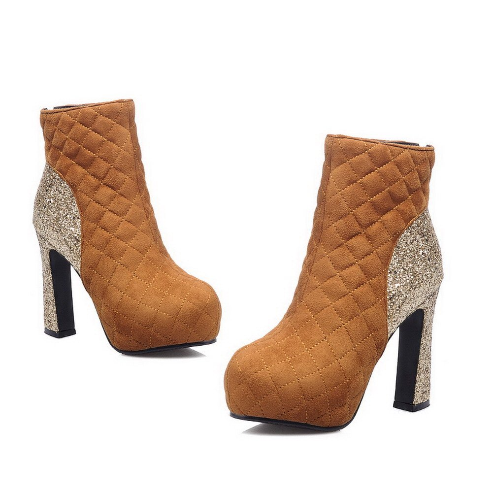 VogueZone009 Womens Closed Round Toe Low Heel Soft Material PU Solid Boots with Bandage