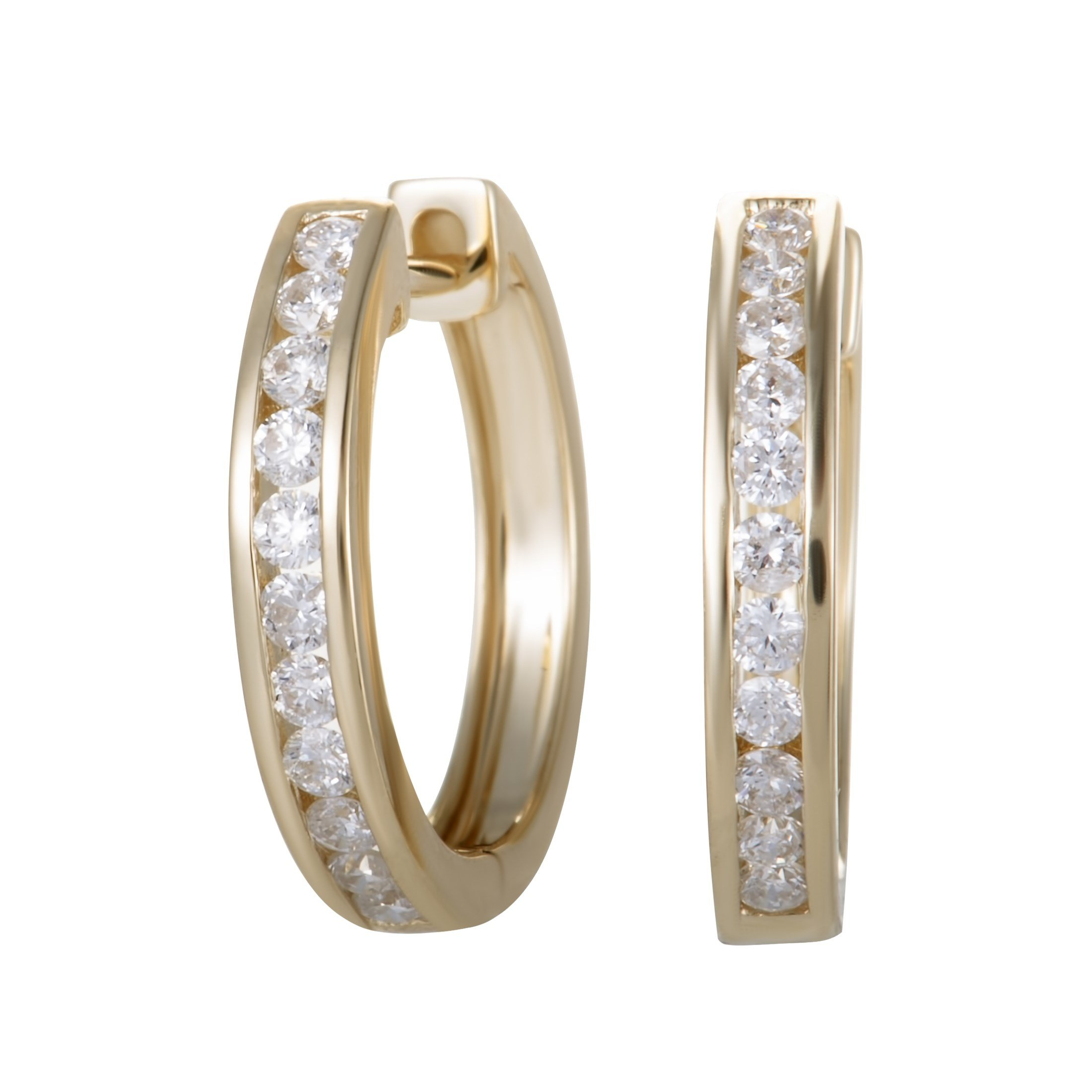 0.5 Carat (ctw) Round Diamond Hoop Earrings; 1/2 CT White Diamonds (G Color, SI1-SI2 Clarity) in 0.62'' 14K Yellow Gold Hoops