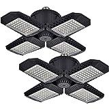 2 Pack LED Garage Lights, 80W Deformable LED Garage Ceiling Lights with 4 Adjustable Panels, 8000LM E26 LED Shop Lights for G